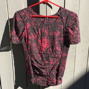 Iro Black/Red Ruched Blouse Size 0